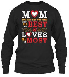 Mother's Day T Shirt | I Love My Mom Black Long Sleeve T-Shirt Front