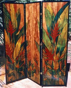 Custom Made room divider 3 panel, koa wood - Oh, to own this Koa Wood divider . Wood Room Divider, Room Divider Screen, Hawaiian Homes, Hawaiian Decor, Folding Room Dividers, Folding Screens, Privacy Screens, Pichwai Paintings, Vintage Stoves