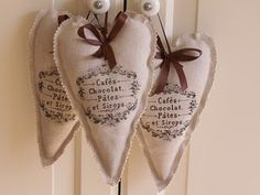 Hearts with transfer words. Love notes would be pretty on the hearts.