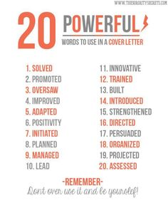 20 Powerful words to use in cover letter by Internship.edu.vn - Cổng Thông Tin Thực Tập via slideshare