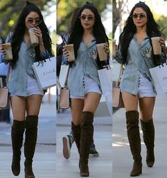 "Vanessa Hudgens Is Out and About in a Questionable Denim Shirt and Sexy Saint Laurent ""Babies"" Thigh-High Boots"