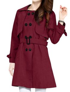Allegra K Women's Turn Down Collar Double Breasted Flap Belted Trench Coat Fall Fashion Outfits, Autumn Fashion, Trench Coat Style, Party Wear, Double Breasted, Classic Style, Stylish, Winter, Belts