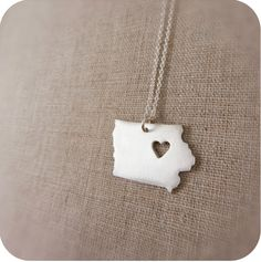 Iowa State Necklace in Silver with Heart by DestinysCreations, $55.00