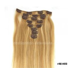 8Pcs Full Head Clip In Hair Extensions 100% Human Remy Hair Mixed Colors #18 / #613