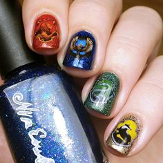 Hogwarts Houses Nail Art