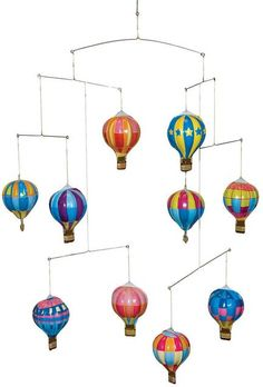 The Tin Hot Air Balloon Mobile is the perfect gift for any tin collector. Recommended for adults, this collector's edition features 10 unique hot air balloons for decoration. Designed for decoration only, not for play. Air Ballon, Hot Air Balloon, Balloon Party, 1 Gif, Thing 1, Tin Toys, Baby Boy Nurseries, Classic Toys, Balloon Decorations