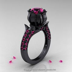 Classic 14K Black Gold 1.0 Ct Pink Sapphire by artmasters on Etsy, $2059.00