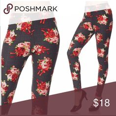 Floral on Plaid Print  Brushed Ankle Leggings Get cozy with this cute and super soft brushed legging, featured in a flower on plaid print. With its smooth, comfortable fit. Wear these with a dressy top and a sexy pair of heels for a classy going out look, or an oversized off-the-shoulder top for a casual day ensemble. Paneled elastic waistband  🌺One size fits most, XS - XL up to size 12 🌺Approx. 27 in. inseam 🌺92% polyester, 8% spandex Beach Wave Pants Leggings