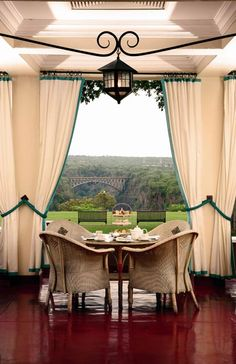 The freshly renovated Victoria Falls Hotel adds a luxurious touch to popular safari grounds. Went from safari here to Thornybush Preserve outside Kruger Park in So. Best Places To Travel, The Places Youll Go, Places To Go, Hotel Victoria, Victoria Falls, Seychelles, British Colonial Style, Uganda, Home Living
