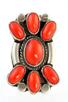 Navajo Sterling Silver & Red Branch Coral Ring Signed Robert Johnson