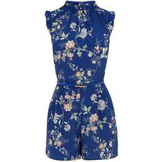 Oasis Sashiko Floral Playsuit (1 280 UAH) ❤ liked on Polyvore featuring jumpsuits, rompers, blue multi, women, blue floral romper, floral rompers, floral print romper, playsuit romper and blue rompers