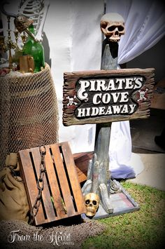 Pirate's Cove Hideaway from a Neverland Birthday Party on Kara's Party Ideas | KarasPartyIdeas.com (44)