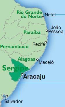 Sergipe - Esta situado na Regiao Nordeste e tem por limites o oceano Atlantico a leste e o estados da Bahia, a oeste e ao sul, e de Alagoas ao norte, do qual esta separado pelo Rio Sao Francisco. E o menor dos estados brasileiros. Pesquisa Google