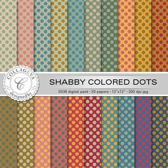 """Shabby colored dots Digital Paper Pack, 20 printable sheets, 12""""x12"""" Scrapbook paper, vintage rainbow set, green ocher beige red blue (S538) by collageva on Etsy"""