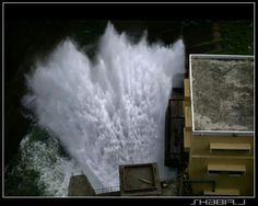 Gushing water from dam