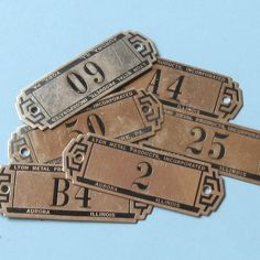 3 Antique Lyon Metal Tags Gym Locker Basket Tags by timepassages. $12.00, via Etsy.