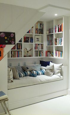 Captivating Design By Under Stair Storage Shelves With Sofa Bed And Bookcase Decorative For Saving Small Space Idea Image