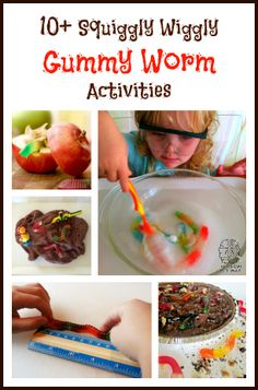 10+ squiggly wiggly gummy worm activities - crafts, science, math, food and more!  From Left Brain Craft Brain.