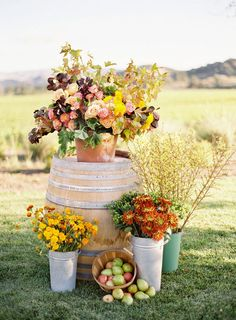 fall themed flowers for outside chapel or entrance of reception