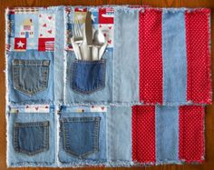Two in One Recycled Denim Placemats by RevisionsDesigns on Etsy, $25.00