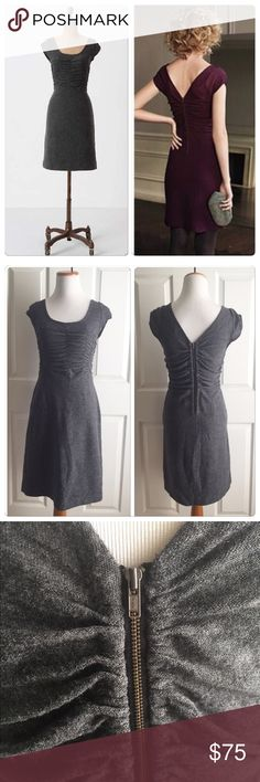 "Anthropologie Look Back Sweater Dress Elegant rows of ruching initially draw the eye to Sparrow's merino wool frock, but it's the dramatic V-back that holds it there. Back zip Wool Dry clean 35.5""L Anthropologie Dresses"