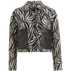 WtR  - Saffron Jacquard Cropped Jacket (3,130 MYR) ❤ liked on Polyvore featuring outerwear, jackets, slim jacket, print jacket, button jacket, oversized collar jacket and oversized jacket