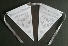 Personalised 60th Diamond Wedding Anniversary Party Bunting Banner Each Banner 3