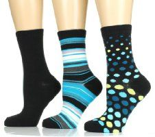 Women's Crew Socks - 3 PK - Size 9-11 - Polka/Stripe/Solid(Black/Blue)