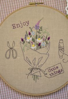 Wildflowers hand embroidery summer decor