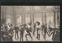 alte AK Heidelberg, studentische Szene, Mensur in der Hirschgasse 1914