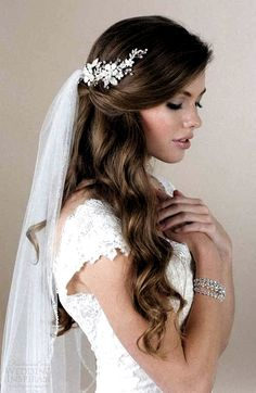 Romantic half up half down hairstyle with soft waves and tule veil. - Bridal Hair - - - Romantic half up half down hairstyle with soft waves and tule veil. Bridal Hair Half Up With Veil, Veil Hair Down, Half Up Wedding Hair, Wedding Hairstyles Half Up Half Down, Romantic Wedding Hair, Long Hair Wedding Styles, Wedding Hair And Makeup, Gown Wedding, Wedding Dresses
