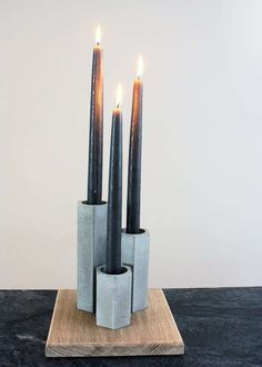 Concrete-Cast Candle Sets - Concrete Geometric Candle Holders Mix Warmth with Cool Design