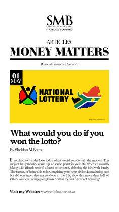 What would you do if you won the Lotto? Lotto Winners, Lottery Winner, Financial Literacy, Financial Planning, Lotto Today, National Lottery, Fall From Grace, Investment Companies, Losing Everything