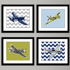 Boys airplane nursery art