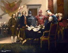 Declaration of Independence (Superheroes in Fine Art contest, a.k.a Superhero ModRen)