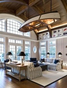 If we ever have a beach or lake house.Nautical Home Interior Decorating Home Living, Coastal Living, Coastal Decor, Living Area, Nautical Living Rooms, Nautical Bedroom, Kitchen Living, Luxury Living, Apartment Living