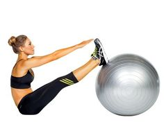 Works: abs Lie faceup, heels on top of ball, arms extended on floor above head. Engage abs and slowly roll up to touch fingertips to toes (as shown). Reverse movement for 1 rep. Do 12 reps.
