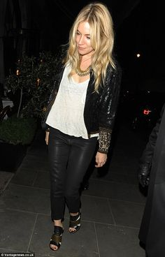 Dinner with friends: Sienna was spotted enjoying dinner with a group of pals at Scott's, looking chic in a sequined jacket and leather trous...