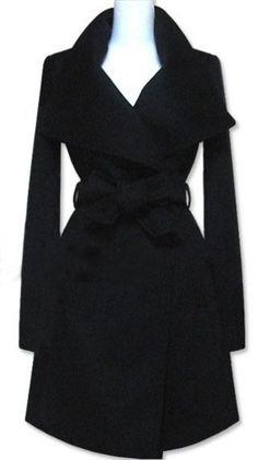 Black Long Sleeve Shawl Collar Self Tie Duffle Coat