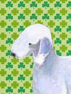 Bedlington Terrier St. Patrick's Day Shamrock Portrait Flag Canvas House Size