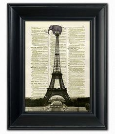 Dictionary Art Print Poster Lost Elephant Paris by PatricianPrints, $10.00
