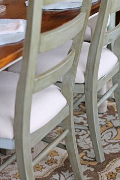 Crafty Southern Mama added some depth and character to these plain dining chairs.