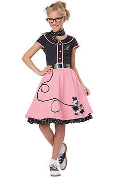 50s Sweetheart Poodle Skirt Grease Dress Outfit Child Costume