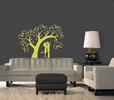 WALL VINYL STICKER DECALS ART MURAL Kissing Couple in Love under the Tree A1542