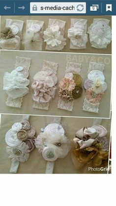 """diy_crafts- """"Very pretty headbands to"""", """"Lace and flower headband"""", """"Discover thousands of images about Bows"""", """"This post was discovere Diy Headband, Baby Girl Headbands, Baby Bows, Rosette Headband, Lace Flowers, Felt Flowers, Fabric Flowers, Fabric Rosette, Ribbon Crafts"""