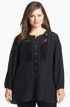 Daniel Rainn Silk Crepe Blouse (Plus Size) available at #Nordstrom