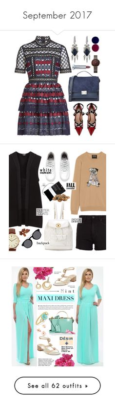 """""""September 2017"""" by cly88 ❤ liked on Polyvore featuring self-portrait, Valentino, Loeffler Randall, Stephen Webster, Maybelline, Nails Inc., easydresses, Markus Lupfer, John Lewis and Paige Denim"""