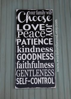 Fruit of the Spirit Distressed We Choose Family Rules Christian Typography Scripture Subway Art Wood Sign Painting