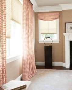 shades with single pleat drapery and shade with relaxed roman fabric valance