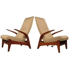 Rare Pair of Sculptural Gimson + Slater Rock'n Rest Lounge Chairs   From a unique collection of antique and modern lounge chairs at https://www.1stdibs.com/furniture/seating/lounge-chairs/